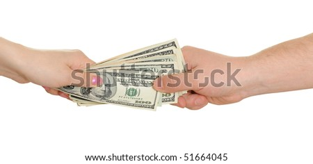 The woman transmits the man of money isolated on white background