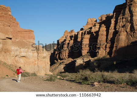 The woman with a backpack looks at fantastical rocks