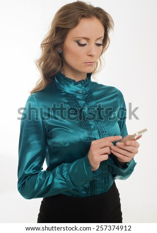 The women with phone - stock photo