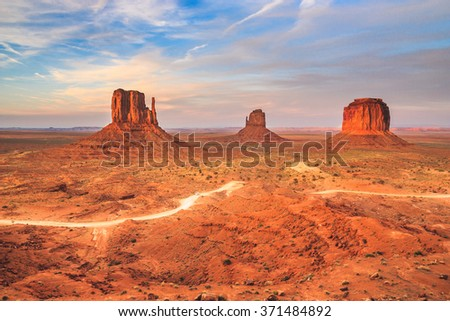 The wonderful and iconic desert of the Monument valley in Arizona, west USA - stock photo