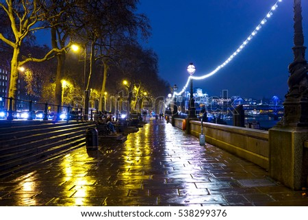 The wonderful banks of River Thames in London - a romantic place - LONDON / ENGLAND - DECEMBER 12, 2016