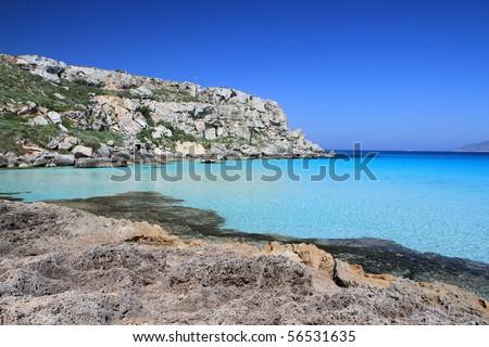 the wonderful Cala Rossa in Favignana in Sicily Italy Aegadian - stock photo