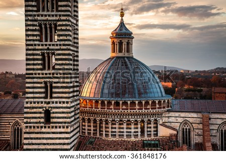 The wonderful medieval city of Siena in Tuscany region, italy - stock photo
