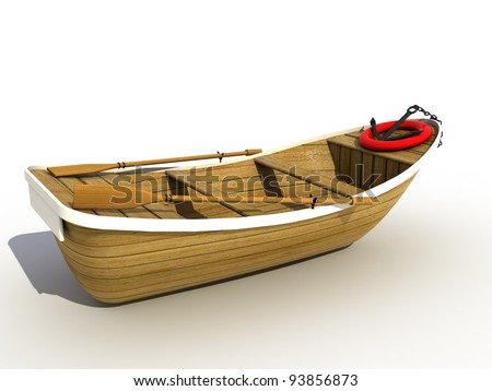 The wooden boat on a white background ?4 - stock photo