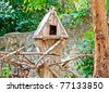 The Wooden house of bird on tree - stock photo