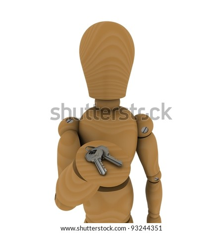The wooden man handed the keys in his hand. 3D rendering - stock photo
