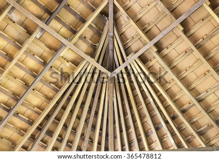 The wooden roof structure