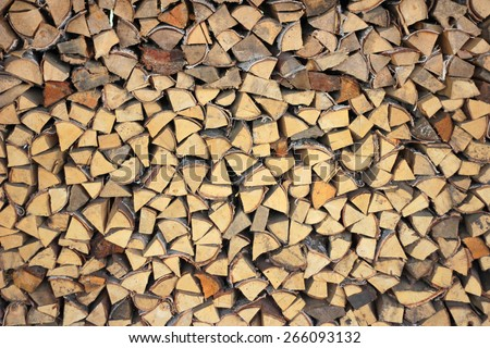The woodpile. Village background. Village life. Preparing for winter.