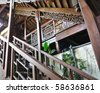 the woody stair in chinese - stock photo