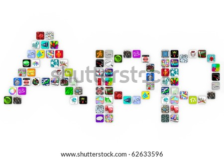 The word Apps spelled out in app icons on a white background - stock photo