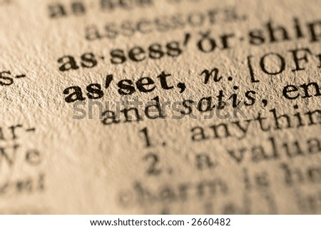 The word asset. Close-up of the word asset in a dictionary. - stock photo