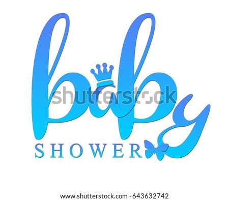 word baby shower written blue prince stock illustration 643632742