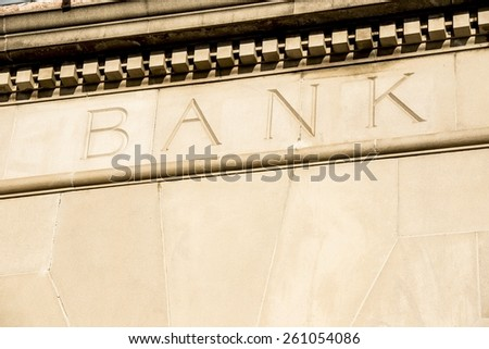 the word bank an old building. - stock photo