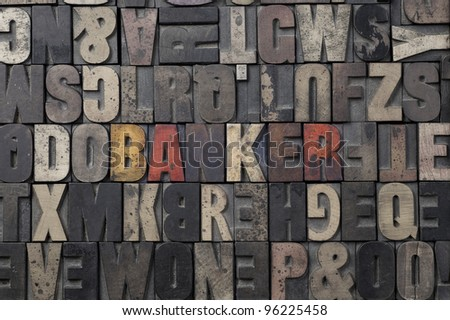 The word Banker written in antique letterpress printing blocks. - stock photo