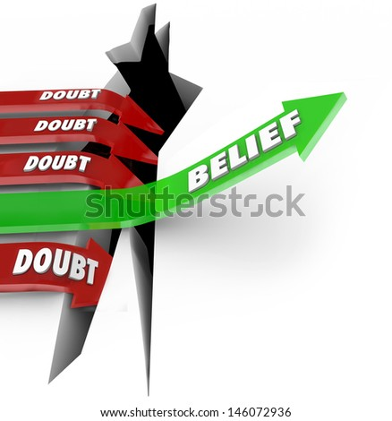 The word Belief on a green arrow jumping over a hole defeats red arrows marked Doubt as they fall into failure - stock photo