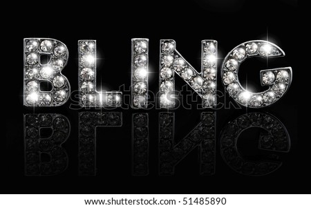 The word bling in dazzling lettering against black background - stock photo