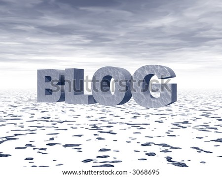 the word blog in big 3d letters in a snow landscape