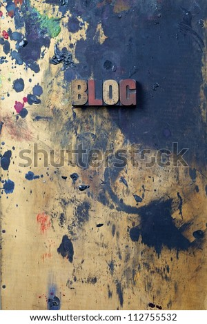The word Blog written in antique letterpress printing blocks. - stock photo
