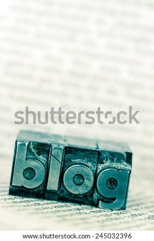 the word blog written with lead letters. photo icon for blog - stock photo