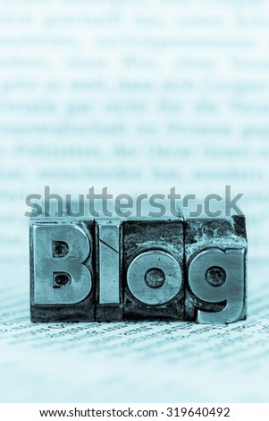the word blog written with lead letters. symbolic photo for blog - stock photo