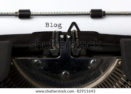the word blog written with old typewriter - stock photo