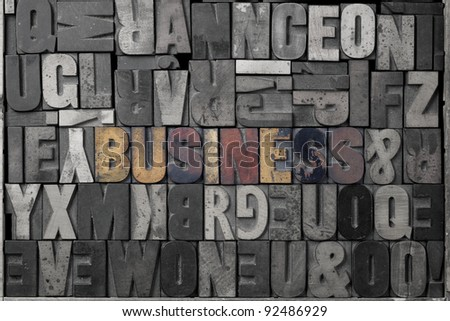 The word business written out in old letterpress blocks. - stock photo