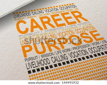 The word Career letterpressed into paper with associated words around it. - stock photo