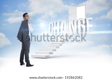 The word change and smiling businessman standing against steps leading to open door in the sky - stock photo