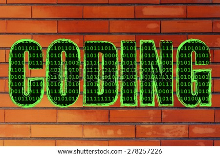 the word Coding with a binary code pattern fill and chalk-like strokes - stock photo