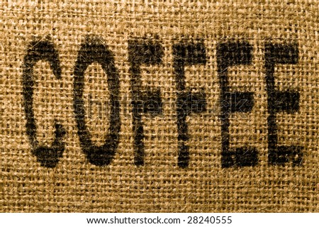 The word COFFEE printed onto a burlap sack - stock photo