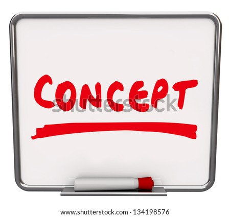 The word Concept written on a dry erase board with a red marker to show an idea, innovation or creative solution to a problem - stock photo