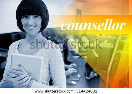 The word counsellor against teacher with tablet pc - stock photo