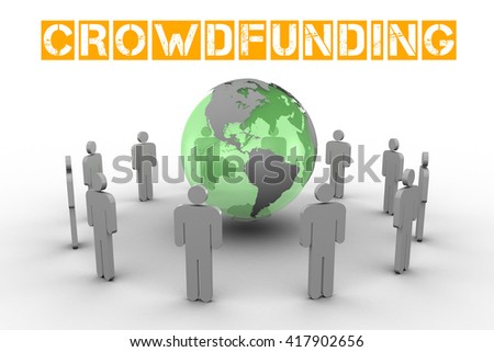 The word crowdfunding against earth surrounded by men - stock photo