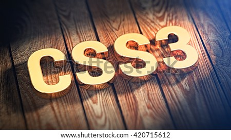 "The word ""CSS3"" is lined with gold letters on wooden planks. 3D illustration image"