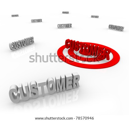 The word Customer is targeted with a bullseye surrounded by other customers, symbolizing target marketing and honing on on a niche market