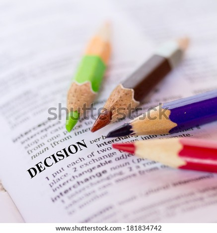 The word DECISION - stock photo