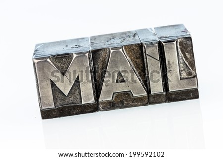 "the word ""e-mail"" in lead letters written. symbolic photo for quick correspondence"