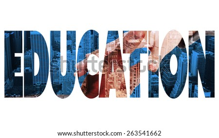 The word education and businesspeople going to shake hands against high angle view of city - stock photo