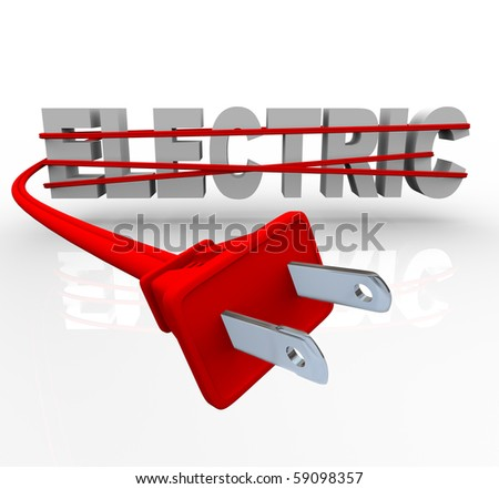 The word Electric wrapped in a red power cord - stock photo