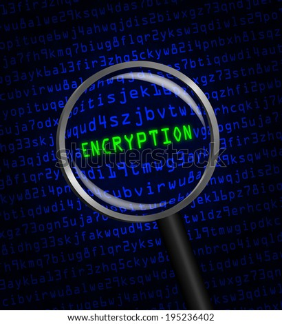 "The word ""ENCRYPTION"" in green revealed in blue computer machine code through a magnifying glass. - stock photo"
