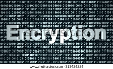 The word Encryption over a binary background.  - stock photo