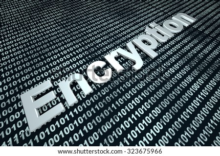 The word Encryption over a binary background.