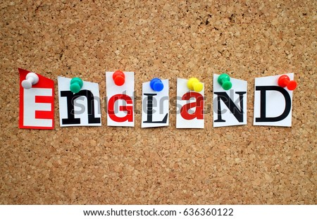 The word England in cut out magazine letters pinned to a cork notice board