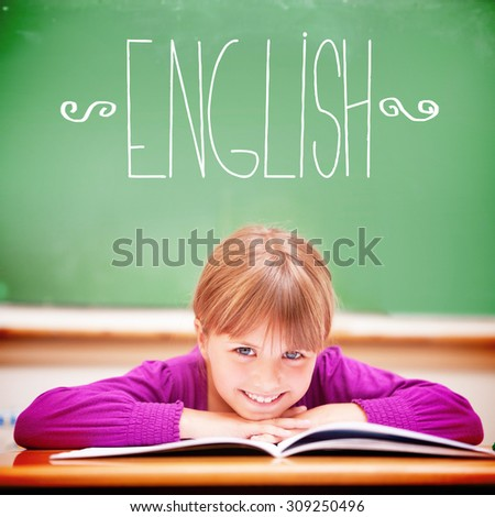 The word english against cute pupil sitting at desk - stock photo