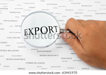 The word EXPORT is magnified. - stock photo