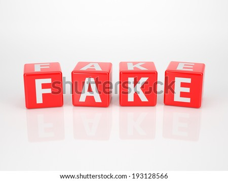 The word fake out of red letter dices on white background