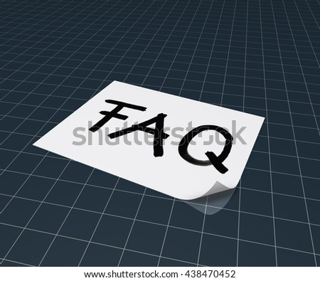 the word faq on paper sheet - 3d rendering - stock photo