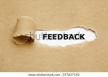 The word Feedback appearing behind torn brown paper. - stock photo