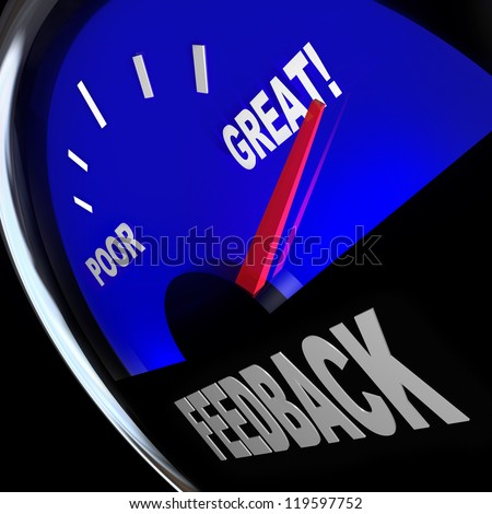 The word Feedback on a fuel gauge to solicit opinions, reviews, comments, questions and viewpoints from customers or your audience - stock photo