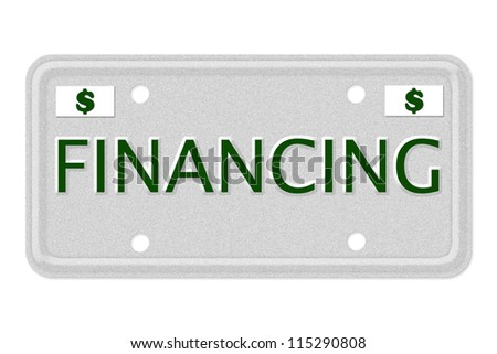 The word Financing on a gray license plate with dollar sign symbol isolated on white, Financing Car  License Plate